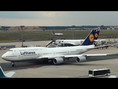 Lufthansa Boeing 747-8 Taxiing for Takeoff at Frankfurt Airport (full HD)
