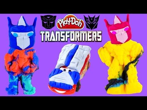Play Doh Transformers Autobot Workshop Surprise Eggs Disney Pixar Cars Lightning Mcqueen video