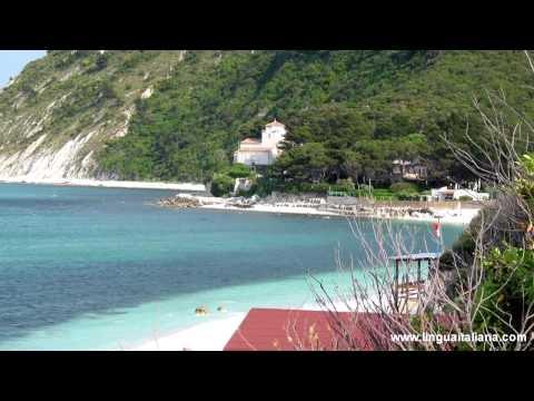 Portonovo beach in le Marche Conero Riviera Italy. Spiaggia Italia. Strand Italien
