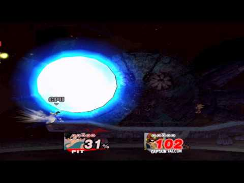SSBB Hacks: Goku Moveset (over pit) updates. Goku pwns Captain Falcon
