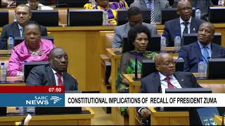 Constitutional implications of recall of President Zuma