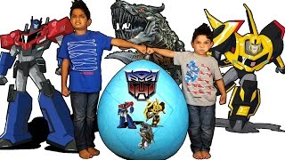 Giant Transformers Optimus Prime and BumbleBee Toys Surprise Egg Opening