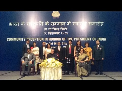 Community reception to H E Sri Pranab Mukherjee at Saigon, Vietnam