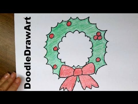 Drawing how to draw a super easy cartoon christmas wreath youtube