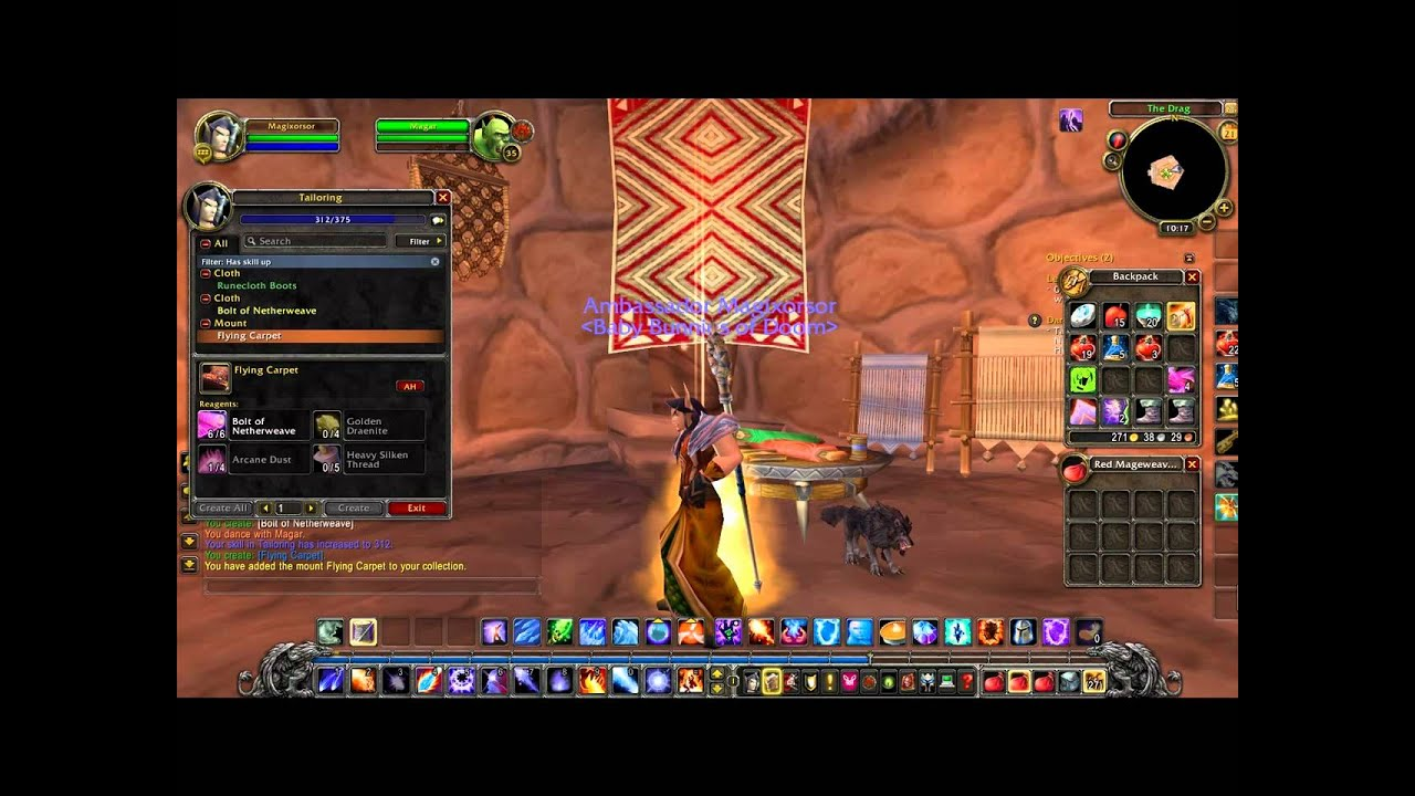 Making my flying carpet mount in wow cataclysm world of warcraft