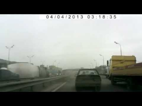 Truck Flips Over on Highway
