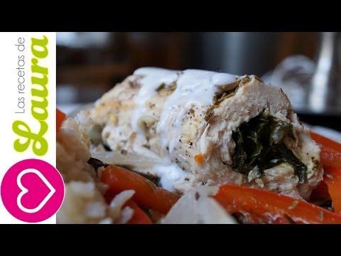 Pechuga de pollo rellena de espinacas Recetas Saludables Chicken stuffed spinach