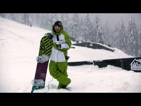 Mateusz Ligocki podczas otwarcia snowparku na Julianach