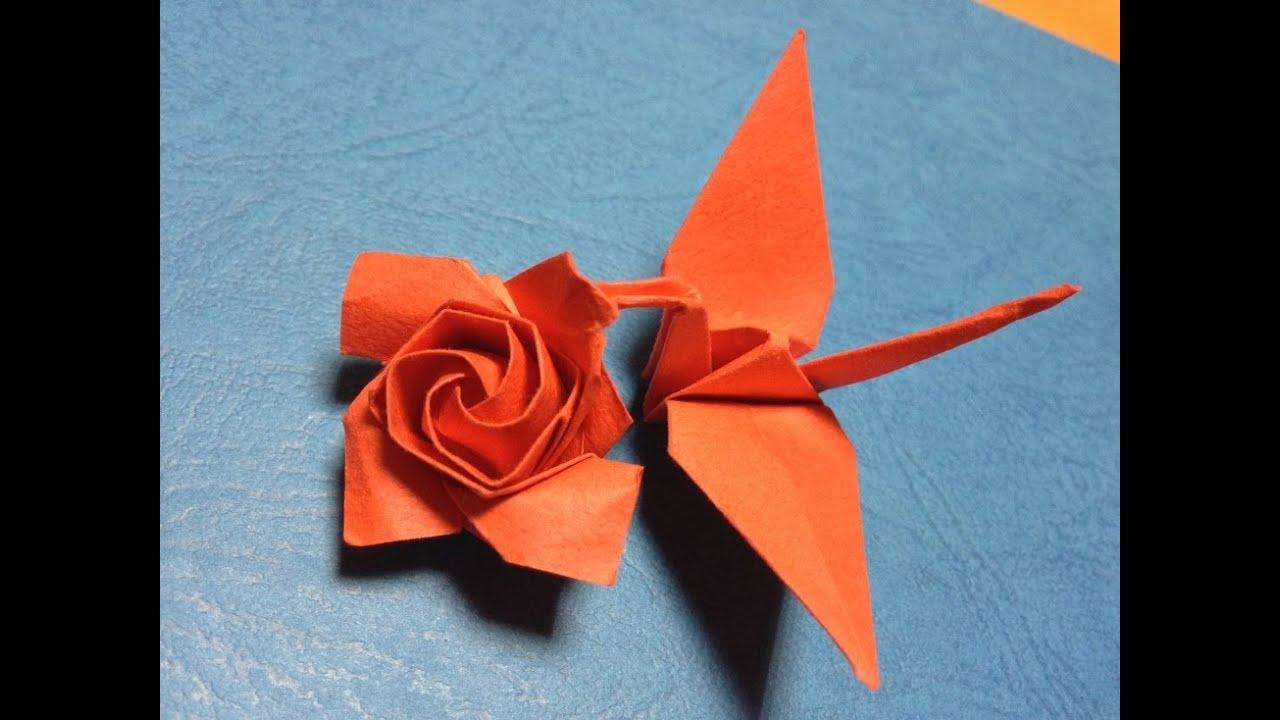 折り紙の 折り紙の作り方 : 連鶴 鶴と薔薇 Origami bird and rose ...