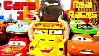 Cars 3 Car Races Lightning McQueen, Jackson Storm, Chick Hicks, The King, Miss Fritter and  RPM 64