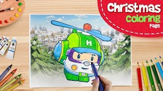 🎁 Helly Coloring Pages | ♫ Merry Christmas ♫ | Robocar Poli Special clips