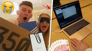 BUYING EVERYTHING MY GIRLFRIEND TOUCHES BLINDFOLDED!! *extreme*