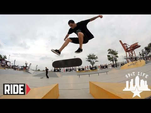 James Craig, Johnny Tang, and SPoT crew skate Shanghai, China.
