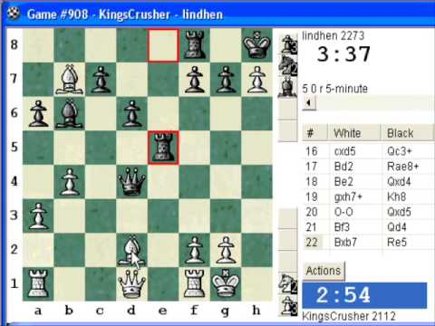Chess World.net: Blitz #141 vs lindhen (2273) - Four knights: Schultze-Muller gambit (C47)