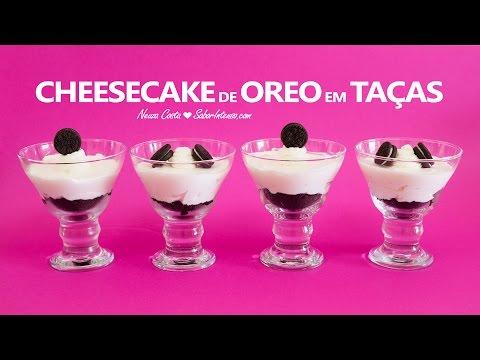 Receita de Cheesecake de Oreo em Taças