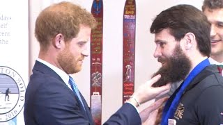 Prince Harry Tickles Wounded Veterans Beard At Ceremony | Forces TV
