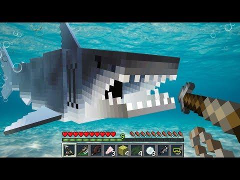 Minecraft JAWS SHARK MOD | GREAT WHITE SHARKS, TIGER SHARKS, TUNA, CRABS!!