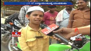 33 Years Short Man Shannu Hulchul with Little Bike in Vijayawada