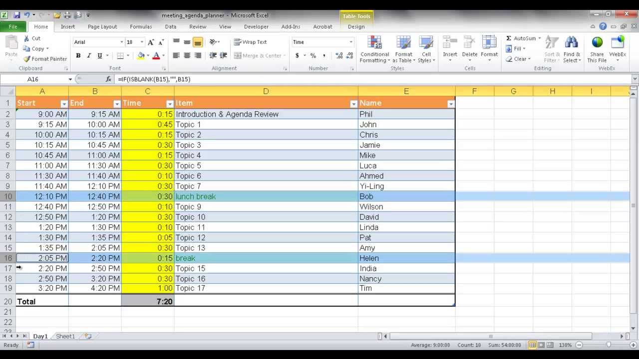 create a meeting agenda planner