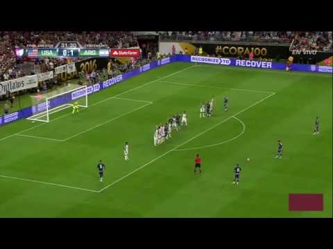 Messi free-kick argentina vs usa 2-0 22-6-2016