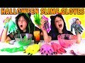 3 COLORS OF HALLOWEEN GLUE SLIME GLOVES CHALLENGE!!