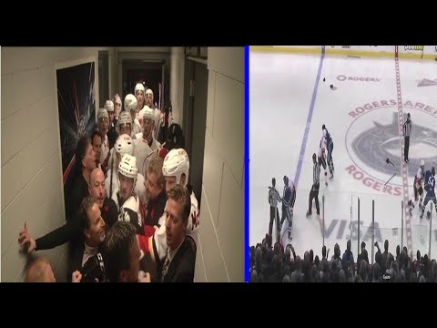JOHN TORTORELLA FIGHT + CANUCKS FLAMES HUGE LINE BRAWL 11-18-13