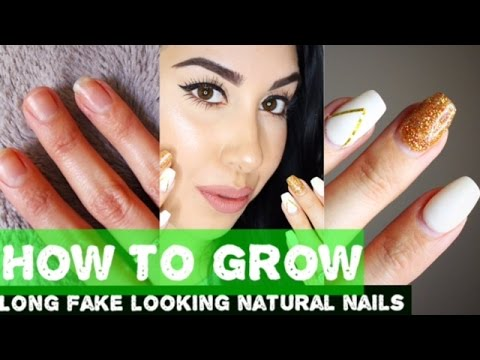 HOW TO GROW NAILS   From SHORT to False looking LONG NATURAL NAILS!!!!