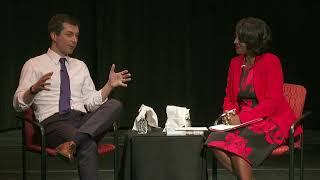 Mayor Pete Buttigieg participates in a Queens County Democratic Party fireside chat.