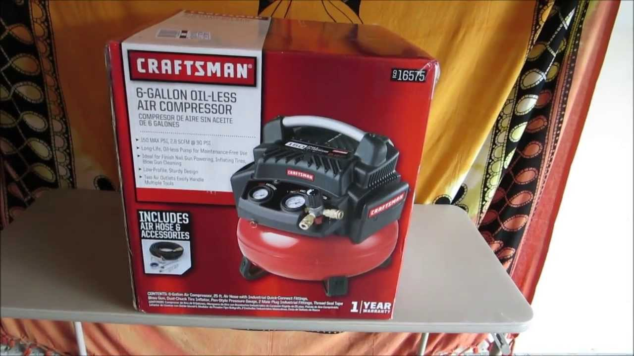 Unboxing Amp First Start Up Craftsman 6 Gallon Oil Less
