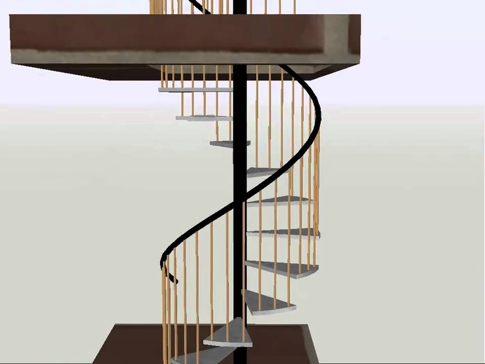 Escalera de caracol autocad 3d youtube for Como hacer una escalera caracol metalica
