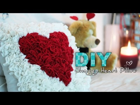 DIY Shaggy Heart Pillow
