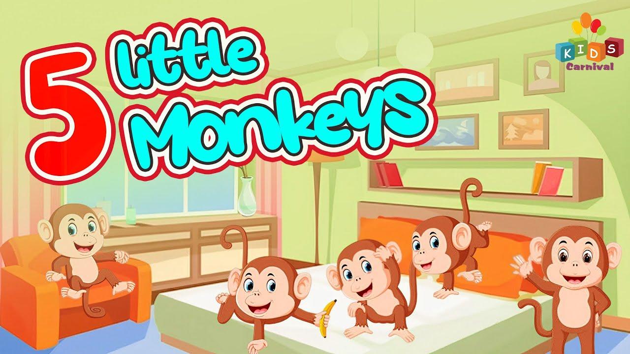 Five Little Monkeys Children English Nursery Rhyme With