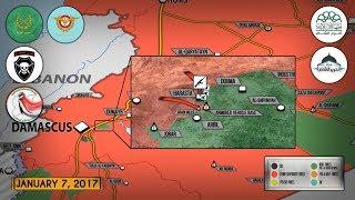 8 января 2018. Военная обстановка в Сирии. Сирийская армия прорвала осаду своей базы у Дамаска.