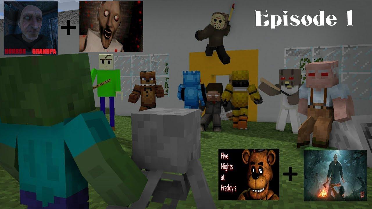 Monster School : Baldi's Jason Granny Grandpa FNAF Episode 1 - Minecraft Animation