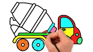 Coloring Books for kids with construction Vehicles Coloring Pages | How to Draw Excavator