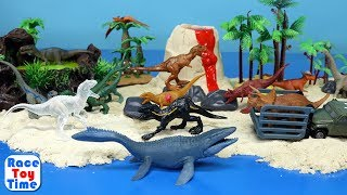 Jurassic World Dino Volcano Island Toys  For Kids - Fun Dinosaurs Tyrannosaurus Indoraptor