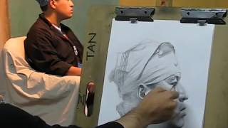 Cross hatching drawing demo by Zimou Tan