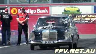 BLOWN V8 MERCEDES ( DEBENZ ) AT APSA PRO STREET SHOOTOUT WILLOWBANK RACEWAY 15.9.2012