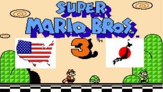 Super Mario Bros 3 English VS Japanese Comparison (USA Vs Japan) on the NES & Famicom Game Console