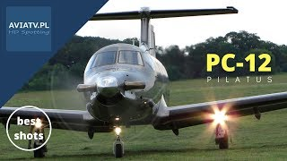 PC-12 Pilatus Aircraft - landing at meadow