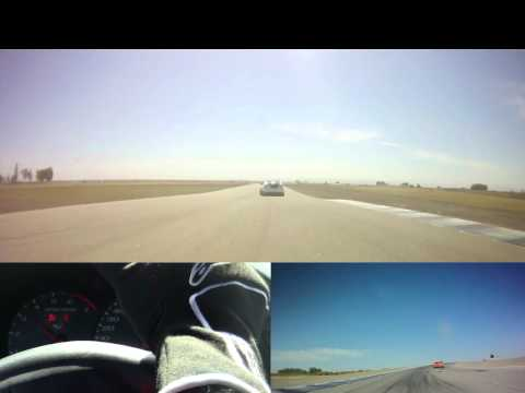 Supercharged Corvette chases Supercharged Caddy at Buttonwillow!
