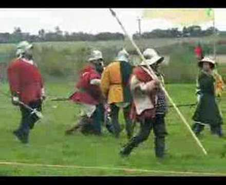 Part of medieval battle reenactment at Blore Heath, 2007 with members of the Wars of he Roses Federation and the Woodville Household. Interested: http://www....