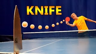 Split a Ball by Hitting It at a KNIFE I Pongfinity