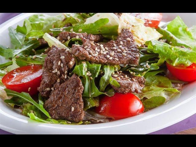 Теплый салат с телятиной и овощами