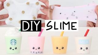 DIY MINI SLIME DRINKS - Starbucks, Milk & Juice Slime!