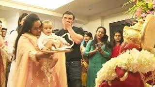 Salman Khans NEPHEW Ahils FIRST Ganesh Aarti Ganpati Visarjan 2016