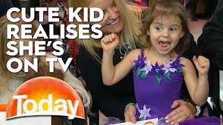 Cute kid just realised she's on TV | TODAY Show Australia