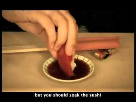 Japanese traditional way eating sushi