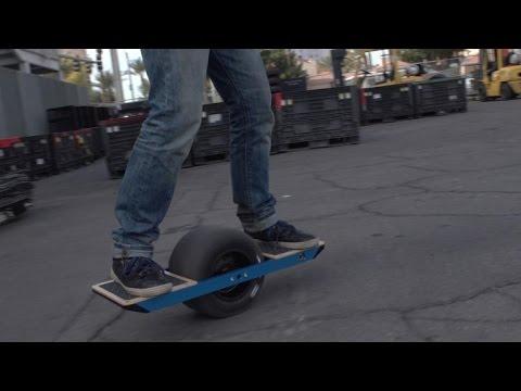 Watch a newbie try the Onewheel self-balancing electric skateboard