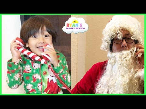 CALL FROM SANTA! Kid decorating Christmas Tree with twin baby sisters Ryan's Family Review Fun Event